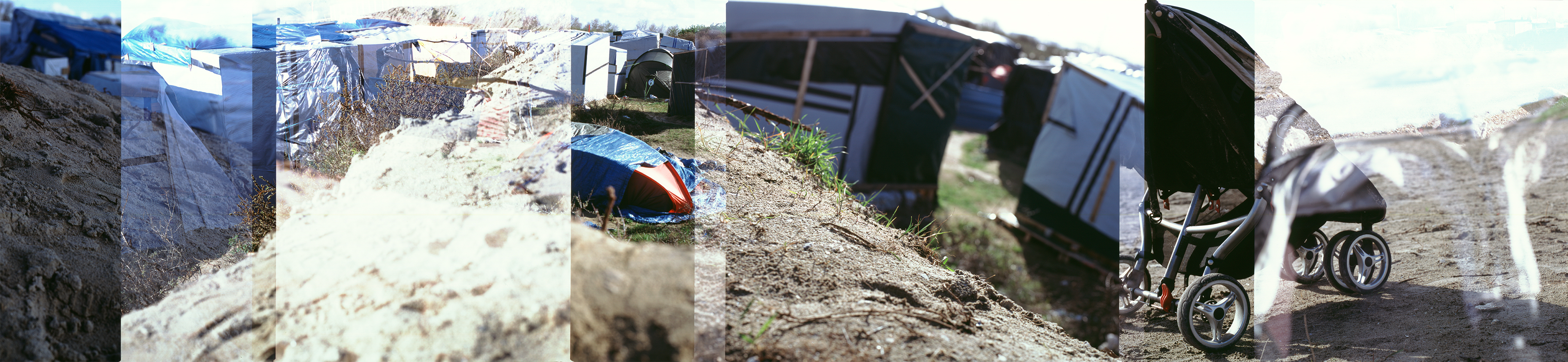 Calais refugees camp-tents-sandwall-panorama